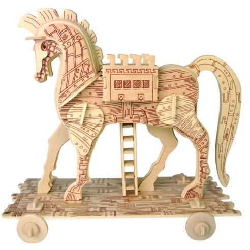 協貿國際手工diy木製拼圖拼板特洛伊木馬