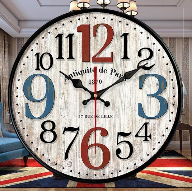 掛鐘美式復古墻飾鐘客廳壁鐘衣衣布舍