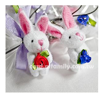 幸福朵朵玫瑰小兔吊飾-二次進場.活動小禮物.畢業禮物.獎勵小朋友禮物.工商禮贈品-都有包裝