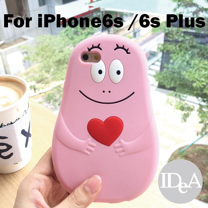 棉花糖精靈iPhone6S 6S Plus泡泡先生巴巴爸爸BARBAPAPA全身造型矽膠手機保護套軟殼粉紅非派大星