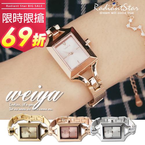 韓國WEIYA金耀派對光燦方型米蘭金屬錶帶手錶WWY0408璀璨之星