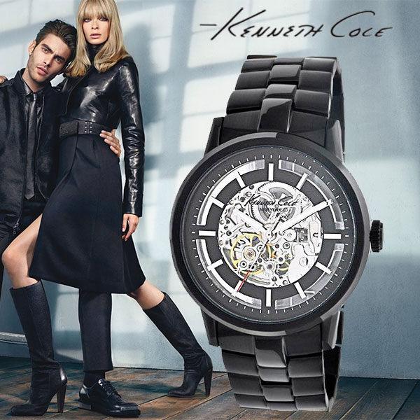 Kenneth Cole帥氣大錶面雙鏤空黑鋼機械錶x45mm公司貨保固2年IKC3981高雄名人鐘錶