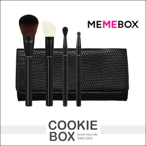 韓國MEMEBOX黑色皮革化裝套刷4件組專業刷具腮紅刷眼影刷蜜粉刷攜帶型化妝包*餅乾盒子