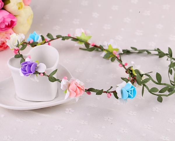 草莓花 花環頭飾景區海邊森女新娘發簪飾品花環材料(帶小綠葉草莓8花)花環─預購CH1747