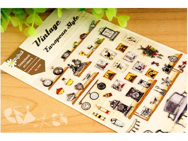手帳貼紙復古歐洲風格日記貼紙塑膠透明材質奢華風鄉村風家具壁畫鬧鐘