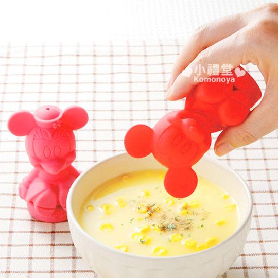 小禮堂迪士尼米奇&米妮矽膠人形調味罐2入.紅粉.坐姿環保美觀兼具4973307-16240