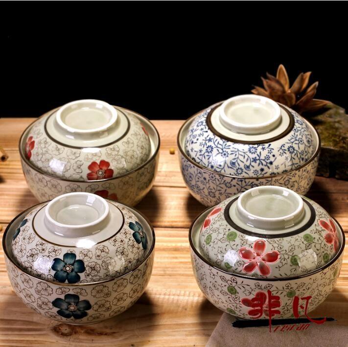 陶瓷6.5英寸大蓋碗湯碗蒸碗泡面碗帶蓋碗家用吃飯碗【非凡】