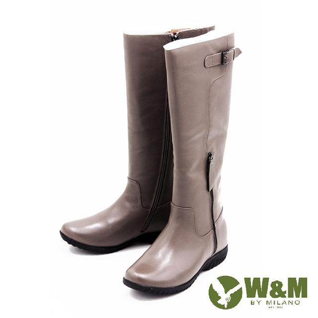 W&M秋冬簡約率性長筒靴高筒靴女鞋-灰另有黑