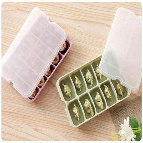 小麥10格水餃盒無毒秸稈廚房冰箱10顆水餃收納盒冷凍餃子盒儲存保鮮盒收納盒首飾收納盒