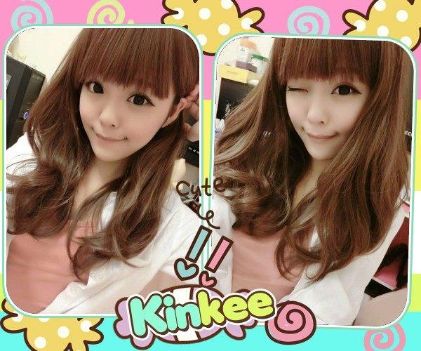 Kinkee假髮MIKIYO示範韓系高仿真林依晨款柔美大捲耐熱中長捲髮H0020