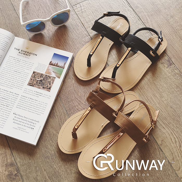 Runway便宜行飾-韓版 時尚 質感 流行 平底 休閒 金屬 一字式 扣帶 防滑設計 夾腳拖 拖鞋 涼鞋