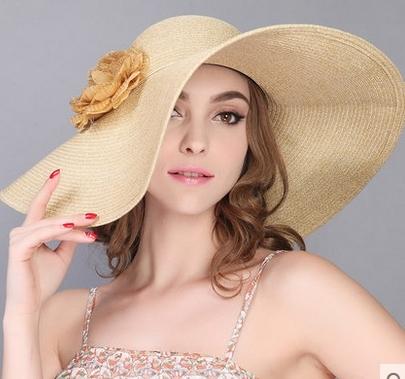 夏天可折疊大簷草帽花朵出遊沙灘帽防曬帽遮陽帽-charle0023