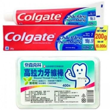 【Colgate 高露潔】三效合一牙膏(200g*12) 高拉力牙線棒*3