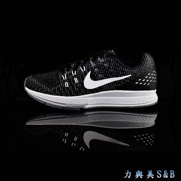 NIKE女慢跑鞋W NIKE AIR ZOOM STRUCTURE 19避震性佳黑色鞋面白色LOGO 7357