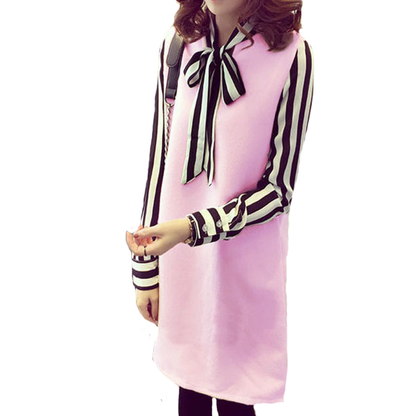 雪紡條紋長袖拼接毛呢洋裝   [灰 黑 粉] 三色售
