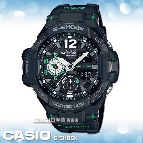 CASIO卡西歐手錶專賣店國隆CASIO G-SHOCK GA-1100-1A3男錶橡膠錶帶黑數位羅盤溫度碼錶