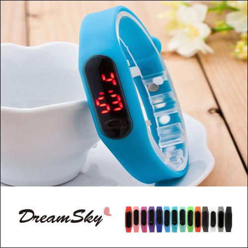 大米LED手環手錶果凍錶運動觸控韓版類小米扣環對錶男女錶時尚潮流情侶DreamSky