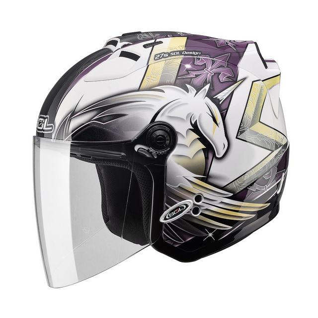 【SOL 27S 獨角獸三代 白紫 安全帽】半罩、內襯全可拆洗、免運 加贈好禮