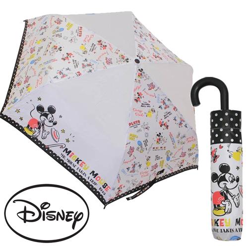 日本進口正版商品迪士尼好朋友米奇米妮唐老鴨輕量型晴雨傘折疊傘附傘套059869