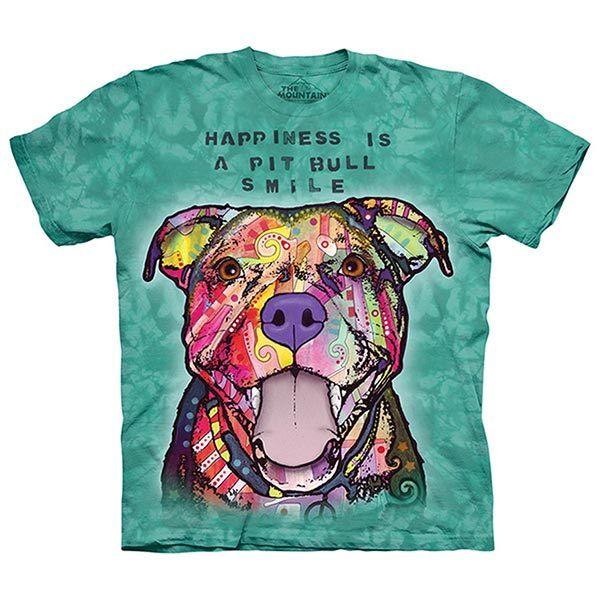 摩達客預購美國進口The Mountain彩繪微笑比特犬純棉環保短袖T恤10415045214