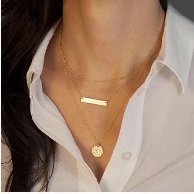 4007爆款唯美時尚簡約珍珠棒棒多層套裝項鍊鎖骨