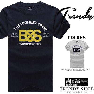 『潮段班』【BS0G5204】美式風格英文字母BOS圖案/潮流/潮T/圓領短袖T恤上衣