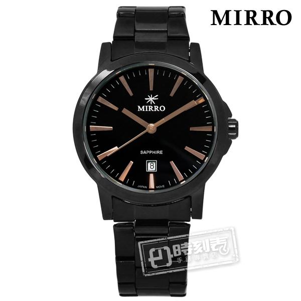 MIRRO 米羅 / 6952LB-GBB / 浪漫時刻藍寶石水晶玻璃日期不鏽鋼手錶 鍍黑 32mm
