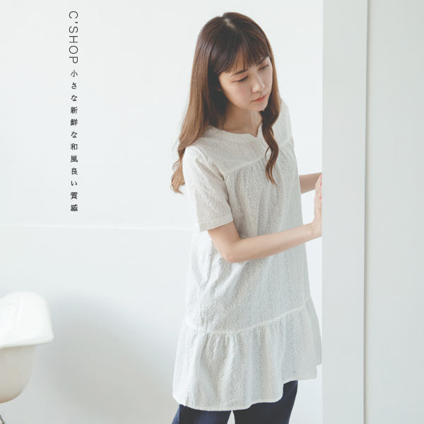 洋裝裙襬拼接布蕾絲棉麻洋裝二色原單-小C館日系