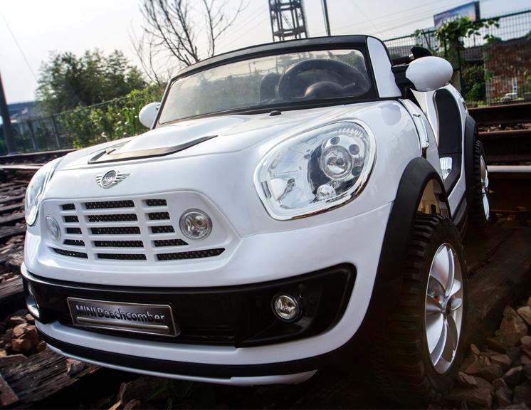 全新 原廠授權白色越野BMW Mini Cooper 兒童電動車2.4G遙控,外接USB.12V雙馬達,雙驅,頂配