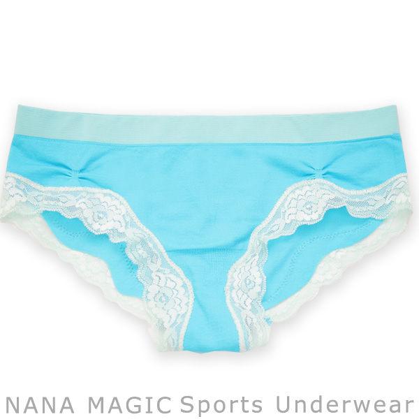 NANA MAGIC彈力無縫系列蕾絲低腰內褲湖水藍ML有氧瑜珈運動路跑居家休閒