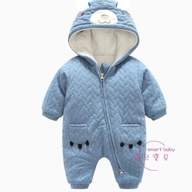嬰兒連身裝 嬰兒1歲6個月女寶寶潮款長袖冬裝新生兒女男童秋冬季連帽連身衣服【優兒寶貝】