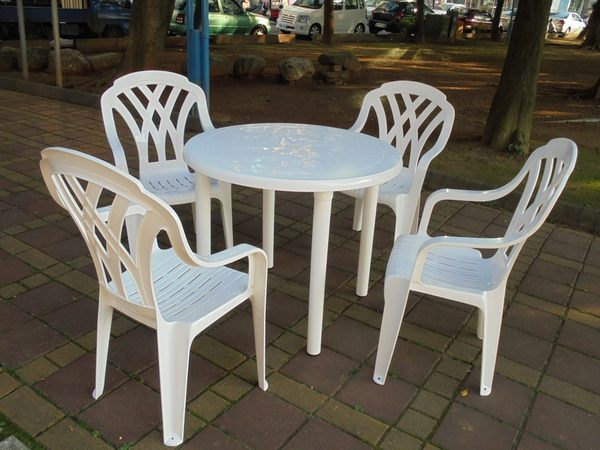 Brother Club~兄弟牌歐式風情~塑膠格網高背椅90cm塑膠圓桌一桌四椅組~庭院休閒聚餐必備