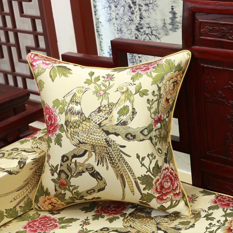 超豐國際中式花鳥靠墊抱枕含芯辦公室座椅護腰腰枕靠枕紅木沙