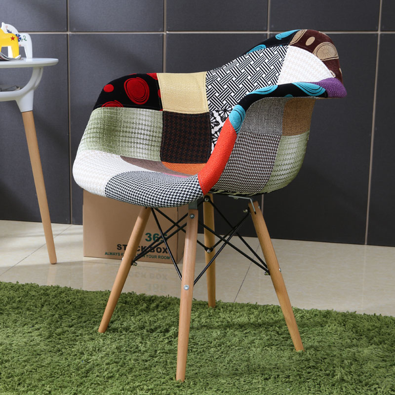 《Chair Empire》北歐設計 復刻版 DSW拼布餐椅 百家布 Eames餐椅 簡約伊姆斯椅 拼布有扶手款