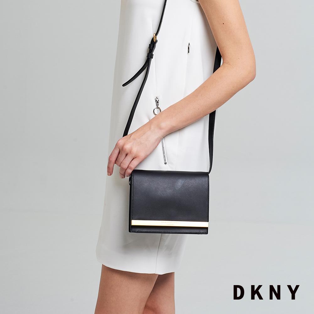 DKNY 女 斜背包 翻蓋簡約 牛皮 黑