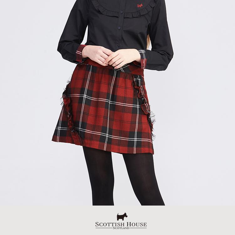 《紅黑格》蕾絲荷葉斜條裝飾格紋短裙 Scottish House【AH2115】