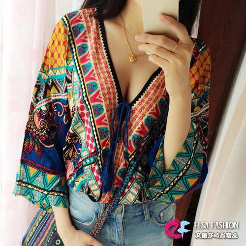 韓版小外套艾爾莎復古圖騰深V領繫帶流蘇寬鬆罩衫外套TAE2115