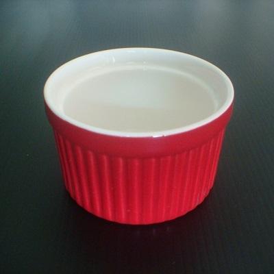 彩瓷布丁蛋糕烤模(紅色-120ml)/陶瓷器皿/烘焙用品
