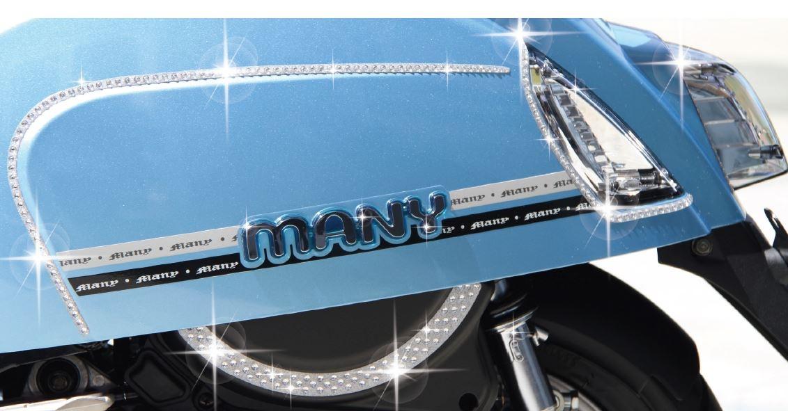 光陽原廠精品 MANY50/100/110空濾器蓋粉蔥水鑽片貼紙(銀色)