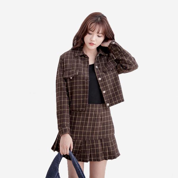 英倫風格紋毛呢套裝 短外套 + 格紋裙 (棕色)