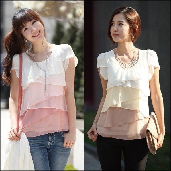 雪紡上衣艾美天后韓版夏季時尚漸層拼接雪紡襯衫短袖雪紡洋裝上衣