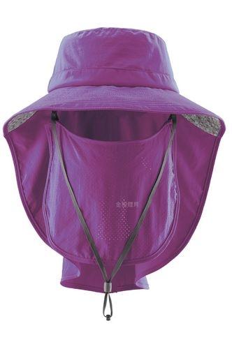 荒野WILDLAND男女抗UV可脫式遮陽帽防曬工作帽登山健行休閒帽遮臉大圓盤帽W1030-60紫色