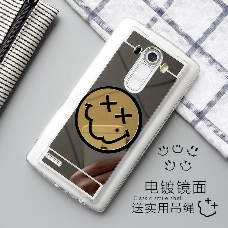 LG G4手機套LG G3手機殼g3保護套g4保護殼鏡面笑臉殼矽膠套附掛繩