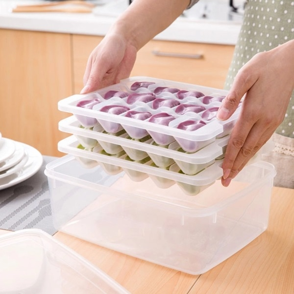 MY COLOR創意分層餃子保鮮盒托盤冰箱水餃不沾黏冷凍收納微波爐解凍水餃盒A01-5