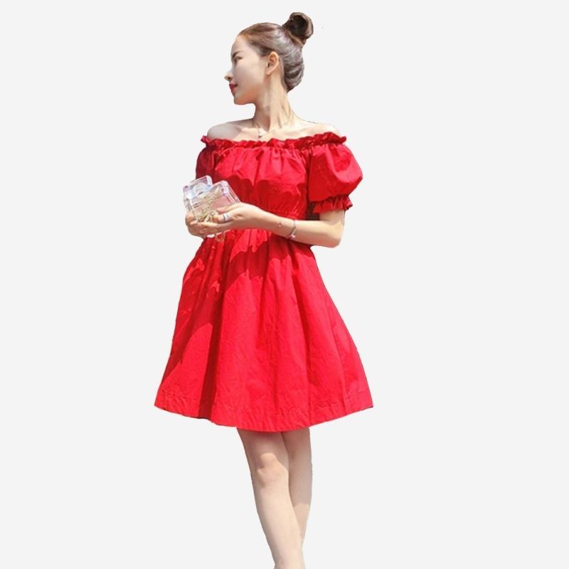 全棉亮麗性感一字领露肩泡泡短袖縮腰洋裝 (紅色) 11852037