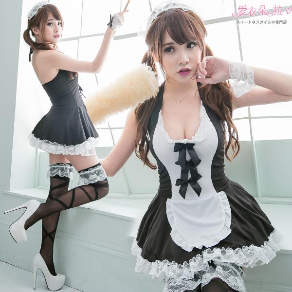 女僕裝 蘿莉小女僕7件組 大尺碼(XL~2XL) 角色扮演蕾絲洋裝 愛衣朵拉