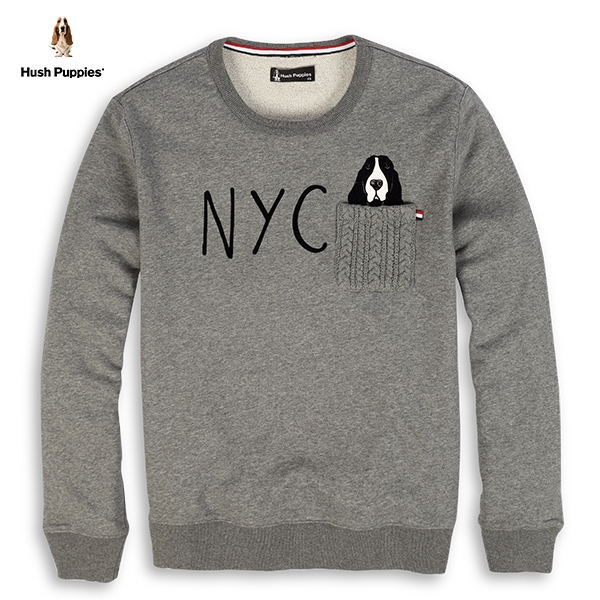 Hush Puppies T恤 男裝NYC毛線口袋植絨印花狗上衣