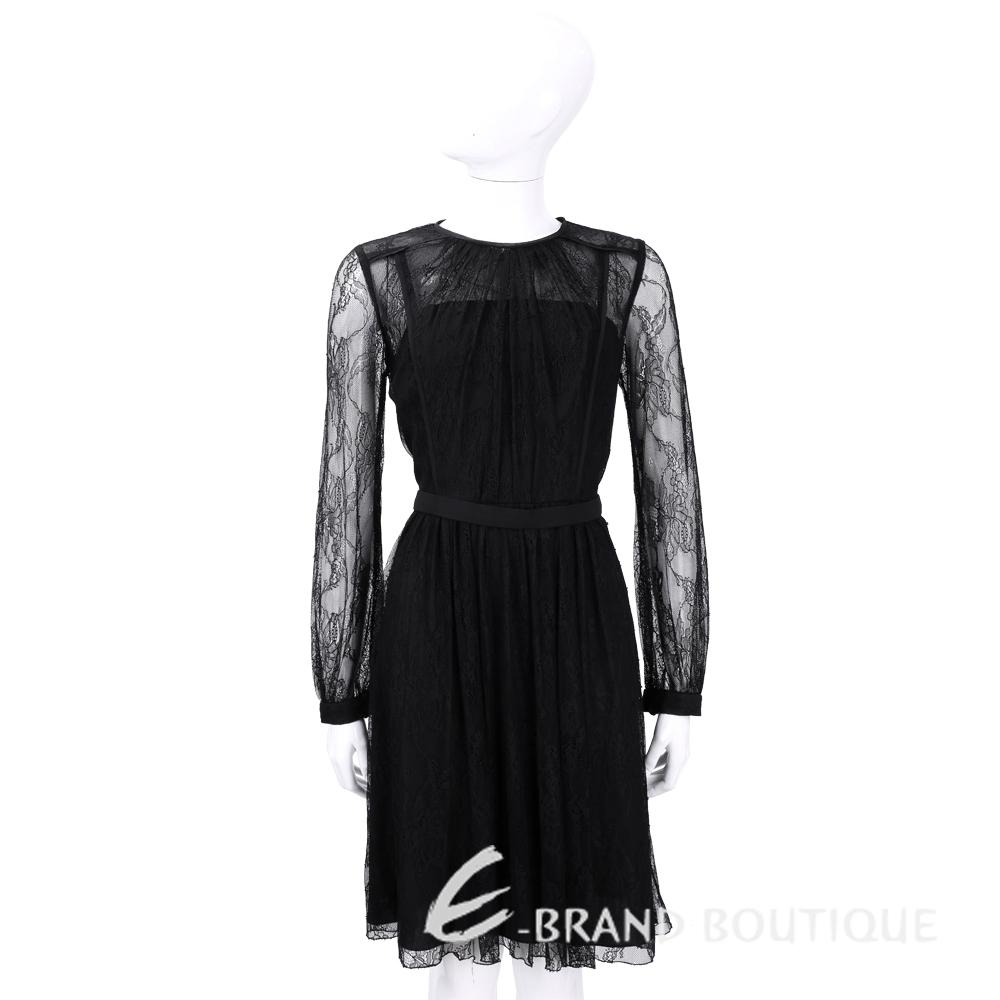 BLUGIRL 黑色蕾絲長袖洋裝 1540297-01