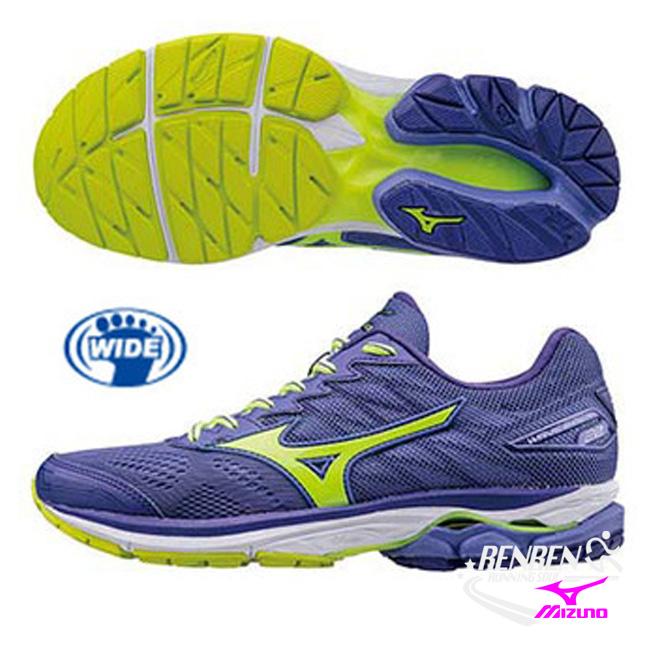 美津濃 MIZUNO 女慢跑鞋 WAVE RIDER 20 (藍紫X螢光綠 )寬楦 雲波浪女慢跑鞋 J1GD170644【 胖媛的店 】
