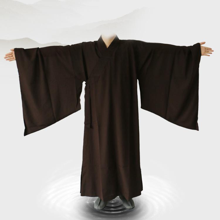 佛道堂佛教服裝海清僧服禪修服夏季男女居士服咖啡色臺麻海青
